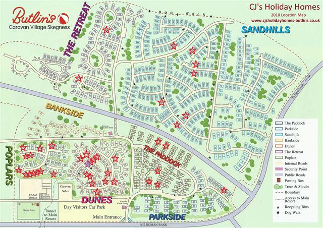 Butlins, Skegness, Caravan Village site map