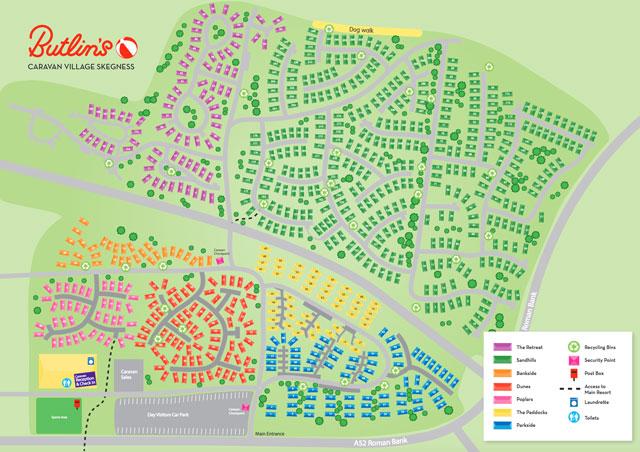 Butlins Skegness Map Butlins Skegness Caravan Village Map – CJ's Holiday Homes